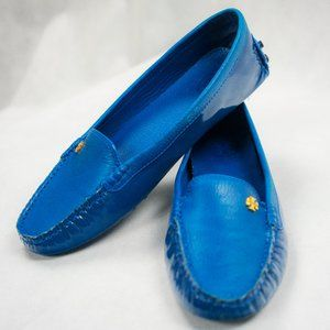 Tory Burch Patent Leather Driving Shoes in Blue